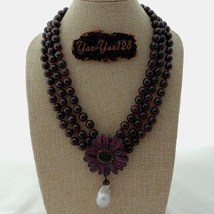 collar de perlas de flores naturales al por mayor-19 natural hebras Garnet Necklace cz Flower White Kehis Pearl Pendant