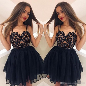 Wholesale Latest Style A-Line Homecoming Dresses Spaghetti Sweetheart Sleeveless Lace Mini Short Zipper Back Short Party Dresses Cocktail Dresses