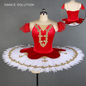 Wholesale Red Velvet Stretch Bodice with Stiff Tulle Skirt Professional Pancake Tutu for Children Women Ballerina Dance Costumes BLL132