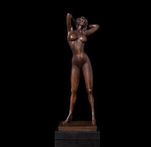 "20"" Art Deco Sculpture Sexy Woman Girl Lady Bronze Statue"