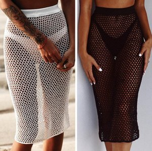 Wholesale 2019 New Hot Sale Knitted Hollow Sand Beach Fishing Net Skirts Female Hand Hook Anti Uv Beach Long Skirts White Black