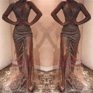 Wholesale Sexy African Sheath Prom Party Dresses Sequined One Shoulder Long Sleeves Side Split Evening Party Gowns