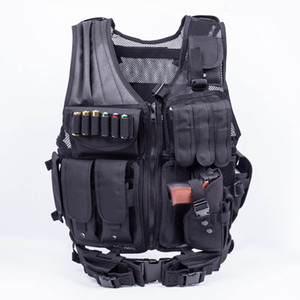 Wholesale Adjustable Tactical Army Airsoft Molle Vest Combat Hunting Vest with Holster Paintball Shooting Hunting Molle Vest For CS Wargame