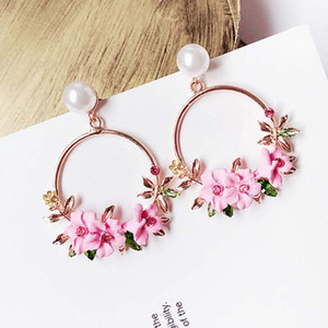 Wholesale Korean Jewelry Zircon Pearl Heart Crystal Flower Pottery Pearl Earrings For Women Statement Ear Jewelry