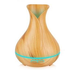 Wholesale 400ml Ultrasonic Air Humidifier Aroma Essential Oil Diffuser with Wood Grain Color Changing LED Lights for Bedroom Living Room