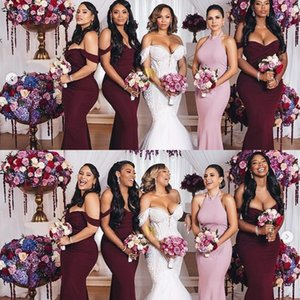 Wholesale plain satin wedding dress resale online - 2020 Classic Off The Shoulder Burgundy Bridesmaid Dresses Mermaid Plain Satin Maid Of Honor Wedding Guest Gown Custom Made Prom Dress