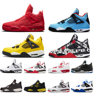 Wholesale 2019 Newest JUMPMAN 4s IV Mens Basketball Shoes Travis Scott Shoes Cool Grey 4 New Bred Raptors Trainers Hot Punch Outdoor Shoes 7-13