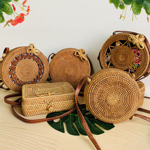 1woven Rattan Bag Round Straw Bag Crossbody Bags Travel Small Beach Handbags Women Summer Hollow Handmade Women Shoulder Bags on Sale