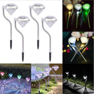 Wholesale LED Solar Powered Lamp Garden Path Stake Lanterns Lamps LED Diamond Lawn Light Pathway Garden Decorations Outdoor Street Yard Light LT1059