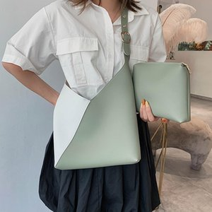 Wholesale Fashion Women Color Block Faux Leather Bucket Crossbody Shoulder Bags Clutches Bucket Shape Adjustable Strap Faux Leather Bags