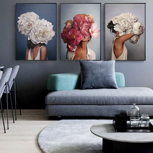 Wholesale Big flower fashion woman High Quality Printed Canvas Painting Wall Art Prints Poster Living room decor