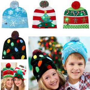 Wholesale Led Snowman Knitted Beanies Cap For Snowflake Christmas Tree Women Children Warm Hair Ball Light Up Hip Hop Hats AN2233