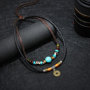 Wholesale Men Multilayer Faux Turquoise Bead Coin Pendant Choker Necklace Jewelry Gift New