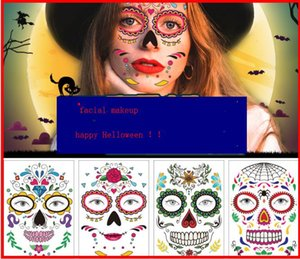 2019 new fashion Halloween face tattoo stickers Waterproof personality masquerade funny makeup Dead Day face stickers