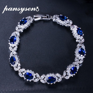 PANSYSEN Dark Blue Sapphire Women's Bracelets with Cubic Zirconia Diamond Stone 925 Sterling Silver Wedding Party Fine Jewelry CX200706