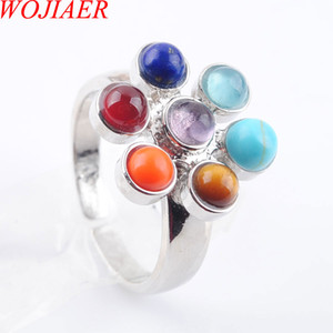 Wholesale chakra reiki healing stones resale online - WOJIAER Chakra Cluster Rings Reiki Energy Healing Point Stone Beads Adjustable Rainbow Flower Meditation Women Finger Ring Jewelry DX3008