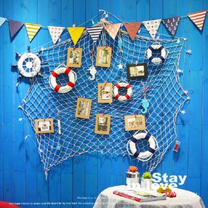 Wholesale Large Blue Beige Christmas Decorations for Home Mediterranean Marine Style Fishnet Photo Frame Wall Art Set Kids Picture Frame