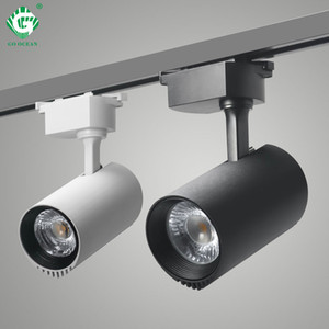 LED Track Light 20W Black Cob Track Lights Ceiling Lamp 200-240V For Clothing Shop Home Night Lighting Spot Rail Fixture Rail Spotlights on Sale