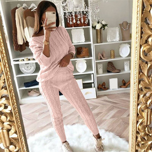 Wholesale Casual Solid Women Pant Suits Ladies Off Shoulder Cable Knitted Warm PC Loungewear Suit Set Female Suit High Quality