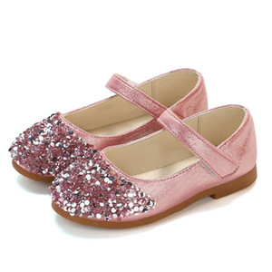 Wholesale Mumoresip Princess Shoes Pink Gold Silver Girls Shoes Glitter Rhinestone Sequins Kids Flats Children Wedding Party Dress Shoes