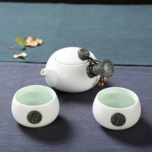 Wholesale 3 Set Snow Ceramic Chinese Gongfu Tea Side Handle Teapot Teacups Mini Travel Set