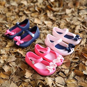 Wholesale Cute Girls Baby Kids shoes Detailed Jelly Bowknot fish mouth sandals boots Shoes buckle solid beach soft sandals girls