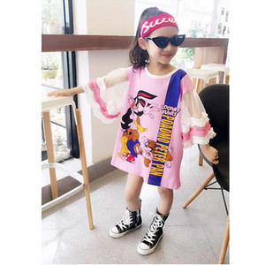 Wholesale Summer Girls Dress Baby Tee Dress Kids Fashion Streetwer Children Vestido Cartoon Duck Rabbit Print Mesh Puff Sleeve To Yrs Q190522