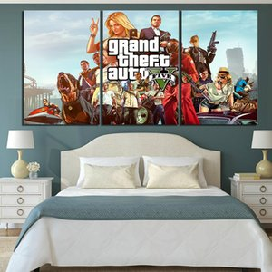 Wholesale 3 Piece GTA Game Poster HD Cartoon Picture Print Canvas Art Grand Theft Auto V Poster Artwork Canvas Paintings for Home Decor
