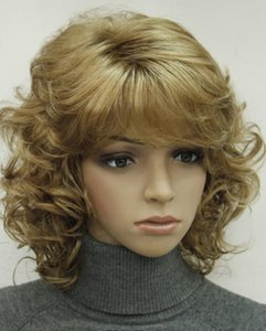 WIG HOT Free Shipping >>>Fashion Light Strawberry Blonde Short Curly Women Synthetic Fluffy Wig