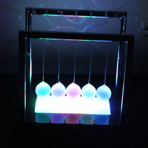 Wholesale newtons cradle resale online - Two Size Large Newtons Balance Ball LED Pendulum Early Educational Cradle Balance Colorful Balls Desk Decor Toys DH1091 T03