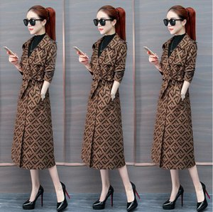Wholesale New Women Trench Coat Slim Women F letters Long Jackets And Coats Overcoat Double Breasted Trench Coat Women Windproof Winter Outerwear H205