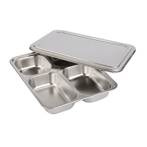 Heavy Duty Stainless Steel Rectangle Dinner Plate 5 Sections Divided Mess Trays for Kids Lunch, Camping, Events & Every Day Use Kitchenware