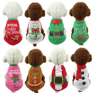 Christmas Pullover Hoodies Dog Clothes Pet Dog Cat Costume Shirt Sweater For Santa Snowman Belt Casual Clothes XS S M L