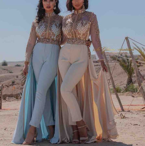 2020 Aso Ebi Luxurious Dubai Arabic Sheath Jumpit Evening Dresses High Neck Crstals Prom Dresses Formal Party Evening Gowns Vestidos on Sale