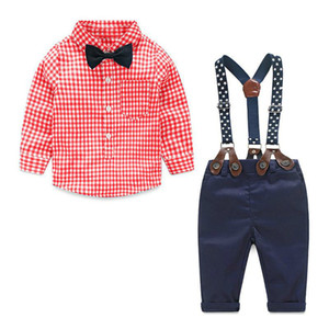 Wholesale Kid Designer Clothes Newborn Baby Sets Infant Korean Children Clothing Set Gentleman Suit Plaid Shirt Bow Tie Suspend Trousers Suits