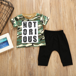 Toddler Boys Short Sleeve Army Letter T-shirt + Black Pants 2pc Suit Kids Clothes on Sale