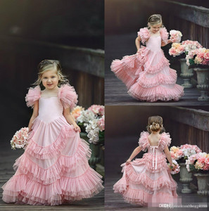 Wholesale Flower Girls Dresses For Weddings Jewel Neck Pink Appliques Bow Tiered Sweep Train Butterfly Birthday Children Girl Pageant Gowns