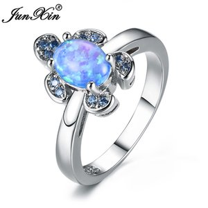 Wholesale Cute Female Girl Blue Fire Opal Stone Ring Sterling Silver Engagement Rings For Women Boho Frog Animal Wedding Rings