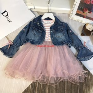Wholesale Girls mesh dresses sets kids designer clothing denim jacket lining cotton dress autumn flower embroidery mesh dress setnew