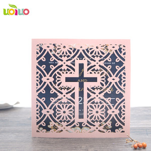 Wholesale wedding decoration simple blank christian wedding invitation card black and white cross cards with discount price