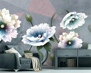 Wholesale 3d wallpaper resale online - Custom D Wallpaper Mural Embossed Flowers European Vintage Jewelry TV Background Wall Environmental Wallpaper