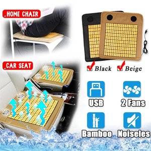 Wholesale 3D USB Bamboo Cooling Car Seat Cushion Cover BUILT IN Fan Air Ventilated Fan Cooler Pad For Car Home Office Chair