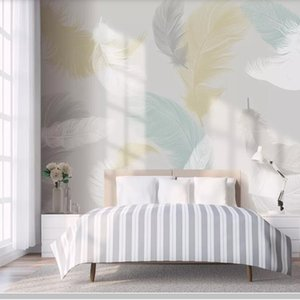 Wholesale Colored feather d modern wallpaper papel de parede living room TV wall bedroom wall papers home decor restaurant bar mural