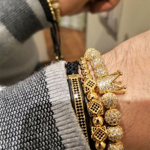 3pcs Set Hip Hop Gold Crown Bracelets 8MM Cubic Micro Pave CZ Ball Charm Braided Braiding Man Luxury Jewelry Pulseira Bileklik