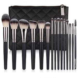 New makeup brush set 15pcs high quality synthetic hair black make up brush tools kit professional makeup brushes.