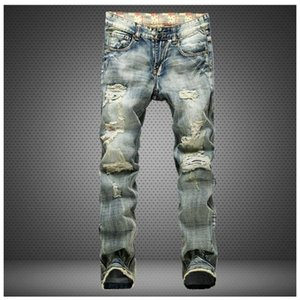Hot Fashion Mens Designer Jeans Men Washed Broken Famous Brand Denim With Printed inside Plus Size