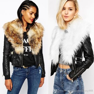 Wholesale 2019 Winter New women PU leather jackets Imitate Fur Large Fur Coat Outerwear Female blue faux fur plus size casual overcoat free shipping