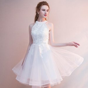 85ba7909f34 Modest Applique Halter Graduation Dresses With Tulle Back Zipper Short Prom Dress  Graduation Party Club Wear