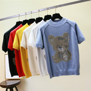 Wholesale New Knit Short Sleeve Teddy Bear Doll Pattern Women T Shirt Fashion O Neck Cute TShirts Female Tops korean t shirt clothes