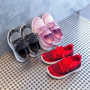 Wholesale Boy Children Toddler Girls Shoes Flying Knitting Sneakers Autumn Ventilation Leisure Time Study Walking Shoes Student Run Shoe